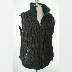 Calvin Klein Gathered Black Puffer Vest Plus Size